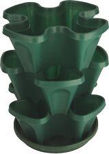 3 Tier Stackable Garden Indoor/Outdoor Vertical Planter Set Self Watering Green