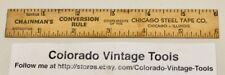 "Vintage 6"" CHICAGO STEEL TAPE Co.(Chicago, IL.) Wooden Advertising Ruler / NR"