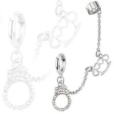 Hoop Chain Earring with Brass Knuckle and Gemmed Cuffs Dangles with End Clip