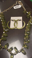 Brand NEW - Haskell Necklace Gold-Tone Green Crystal and Earrings Set