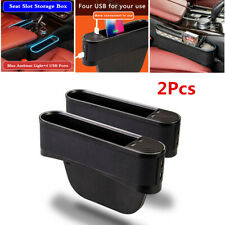 2Pcs Blue LED Light Car Seat Gap Left+Right Side Storage Box 4USB Ports Charging