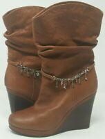 TATA Brown Leather Heeled Boots Size 6-6.5US Tan Brown Jeweled Charms Nice Boots