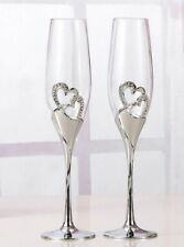 Wedding Bridal Champagne Toasting Flutes / Glasses with Silver Diamante Hearts