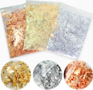 3g Bag Nail Art Foil Silver Gold Autumn Leaf Metallic Leaves Flakes Glitter