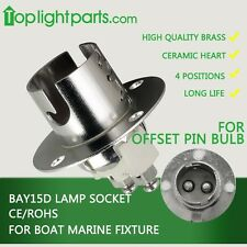 (2pcs)x BAY15d Marine Boat Bulb Light Fixture Lamp Holder Light Socket Flange CE
