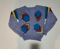 Vintage Missy Little Girl 80's Purple Color Block Sweater Size 6