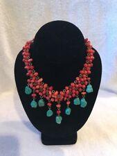 Viviane Guenoun Designer Choker Necklace Turquoise Dangles (d4-13)