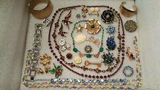 Vintage Jewelry Lot Rhinestones, Beads, Shades of Green, Blue & Purple Coro