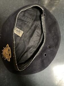 WWII Australian Armoured Black Regiment Beret With Rising Sun Badge