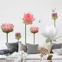 style Living Room Lotus Flower Bedroom Wall Stickers Decal Art Mural Home Decor