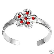 Silver 925 Best Price Jewelry Ruby Usa Seller Flower Toe Ring Sterling