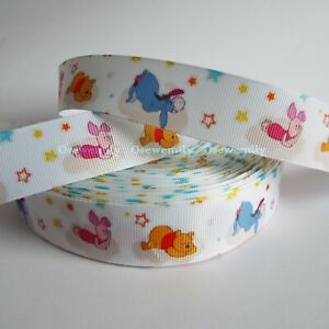 Per Metre - Winnie the Pooh  25mm  - Printed Grosgrain Ribbon / Cake/ Hair Bows