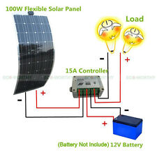 100W Mono Semi Flexible Solar Panel PV Module W/ 15A Regulator 12V Battery Power
