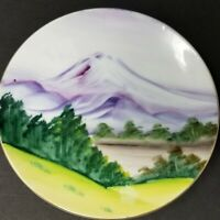 "Vintage Occupied Japan China Hand Painted 5"" Plate Mountain and Trees"