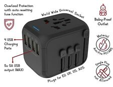Universal, International, World Travel Plug Adapter 4 USB Ports - Ships from USA