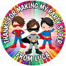 SUPERHERO BOYS , 24 PERSONALISED GLOSS, BIRTHDAY PARTY, SWEET CONE STICKERS