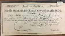 Cancelled Fractional Certificate of Public Debt, under act of November 9th, 1866