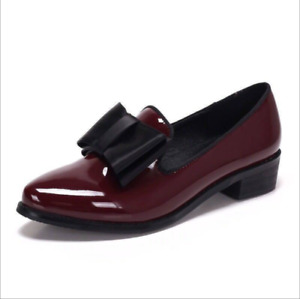 Womens British Patent Leather Bow Pointed Toe Low Block Cosy Work Office Shoes