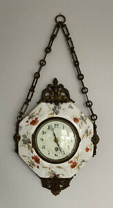 Antique French Boulangere Napoleon Octagonal Hanging Chain Clock Bronze Ormolu