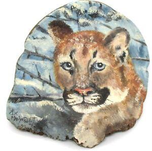 Vintage Hand Painted Shelf Fungus Pacific Northwest Cougar Marilyn Rabbitt '92