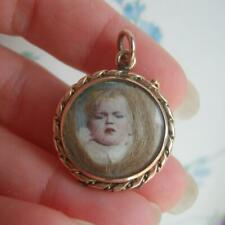 Victorian Gold Child Portrait Miniature Mourning Pendant Locket with Lock Hair