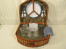 """VINTAGE 80S 90'S WOVEN WICKER BASKET CLOTH LINER  4 SETTING 18""""X14""""X8"""""""