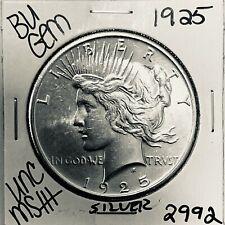 1925 P BU GEM PEACE SILVER DOLLAR UNC MS+ GENUINE U.S. MINT RARE COIN 2992