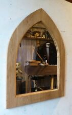 Unusual Gothic Arch Solid Wooden English Oak Mirror 73 cm long Hand Made