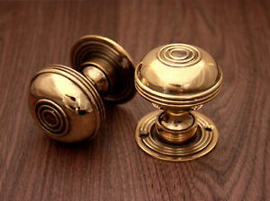 Traditional Antique Bloxwich Style Solid Brass Pair Mortice Door Knob Aged Brass