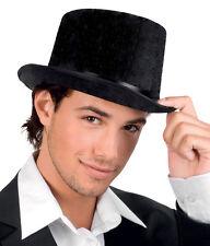 Hombre Mujer Victoriano Sombrero De Copa Negro Terciopelo Steampunk