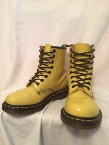 GENUINE DR MARTENS 11821 8 EYE YELLOW PATENT LEATHER LACE UP BOOTS UK 5 EU 38