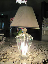 TABLE LAMP,White w/ glass, 3 candle lights inside, 3-way main bulb, 2 1/2' tall
