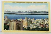 Skyline of Seattle Washington Puget Sound and Olympic Mountains Postcard J12