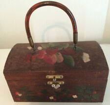 Domed 1950S Tole Folk Art Strawberry Patch Wooden Box Purse With Lucite Handle
