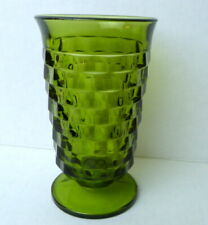 Cubist Indiana Avocado Green Glass Whitehall Footed Tumbler 14 oz