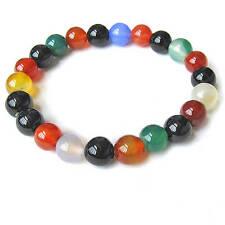 "Stretchy 22 Colorful Agate Gemstone Prayer Beads Wrist Mala Bracelet -6"""