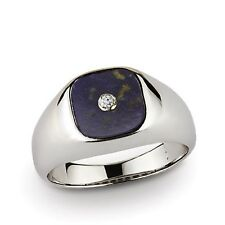 10k Solid White Gold Gemstone Ring for Men with 0.03ct Real Genuine Diamond