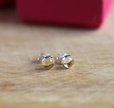 925 Sterling silver stud earrings with 5 mm round natural Citrine cabochon