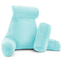 Large Foam Reading & TV Bed Rest Pillow +2 Neck & Lumbar Pillows, W/Pocket- Aqua