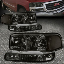 For 99-07 Gmc Sierra Yukon Xl Smoked Housing Clear Corner Headlight Bumper Lamps