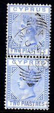 CYPRUS 1881 CROWN CC 2pi BLUE USED VERTICAL PAIR, SG 13
