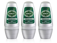 3 x Brut Original Roll On Deodorant Spray Body Spray For Men 50ml