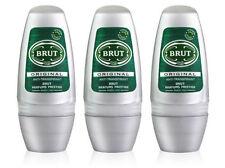 3 x Brut Original Roll On Deodorant Spray Body Spray For Men 50ml
