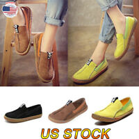 Women Lady Boat Shoes Summer Flat Sole Leather Slip On Flats Loafers Ankle Shoes