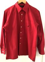 Nautica Men's Shirt Bright Red Collar Button Up Long Sleeves Cotton Size Small
