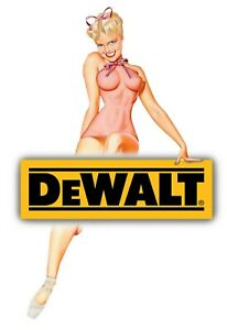 DEWALT TOOLS STICKER DECAL HAPPY GIRL GLOSSY TOOL BOX CHEST GARAGE MADE IN USA