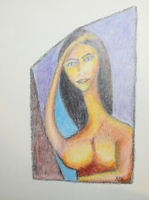 European abstract cubist drawing nude portrait signed