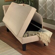 Storage Chaise Lounge Beige Loveseat Chair Upholstered Sofa Couch Bedroom Indoor