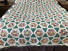 """MATCHED PAIR HAND QUILTED GRANDMOTHER'S FLOWER GARDEN PATTERN QUILTS  99"""" X 70"""""""