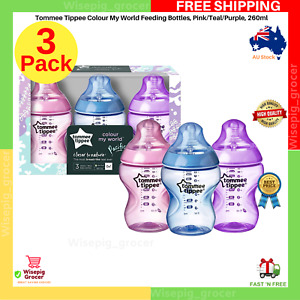 Feeding Bottles TOMMEE TIPPEE Colour My World Pink Teal Purple 260ml 3 Pack NEW